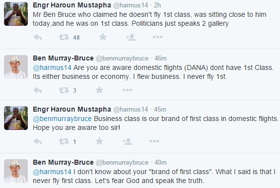Man claims Ben Murray-Bruce flies first class, see the response of Bruce