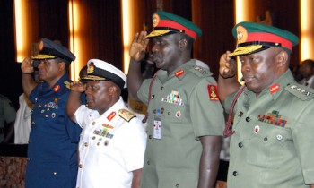RELOCATION ORDER: Service Chiefs arrive in Maiduguri