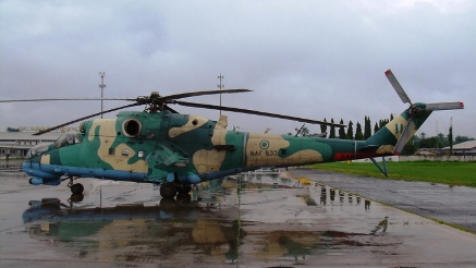 NAF Helicopter hits Boko Haram insurgents hiding under trees