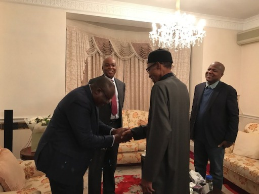 PHOTOS: Saraki, Dogara, Lawan visit Buhari in London, say president is healthy