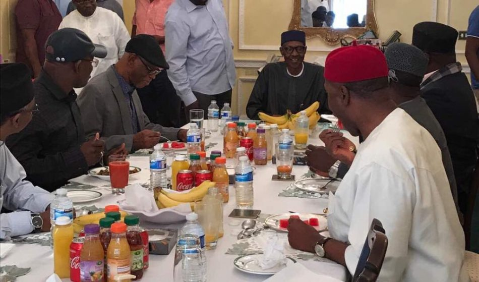 Buhari and the Visisting APC leaders at lunch in London