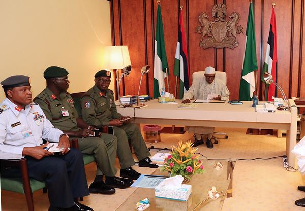 Attacks on soldiers: Buhari meets with service chiefs