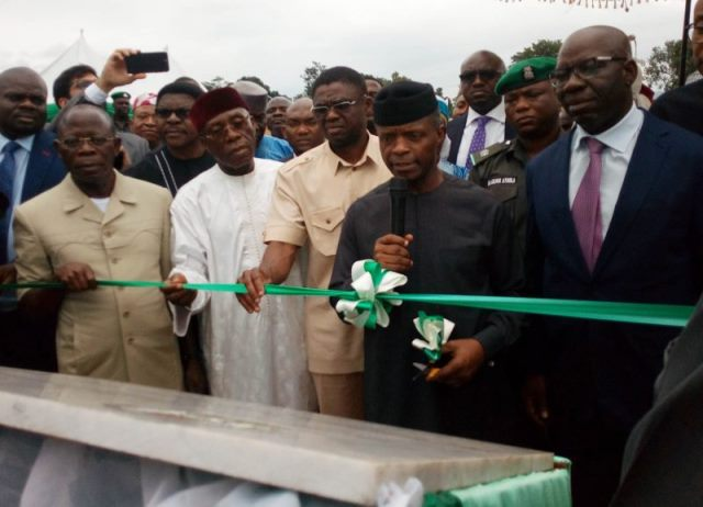 Osinbajo inaugurates 60,000 metric tonnes fertiliser plant in Edo