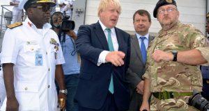 Boris John during his visit to Nigeria checks the Navy in Lagos