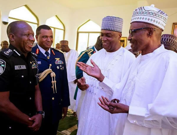Special Jumat Prayers: Buhari, Saraki, Namadi Sambo, others pray inside Aso Rock (Photos)