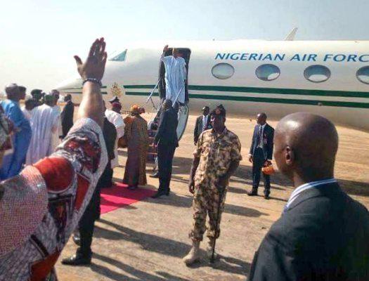 President Buhari arrives in Taraba