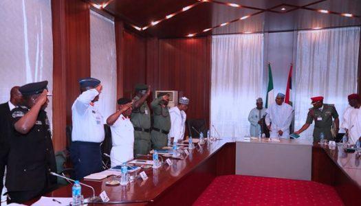 PICTURES: Buhari meets with Service Chiefs, cancels FEC