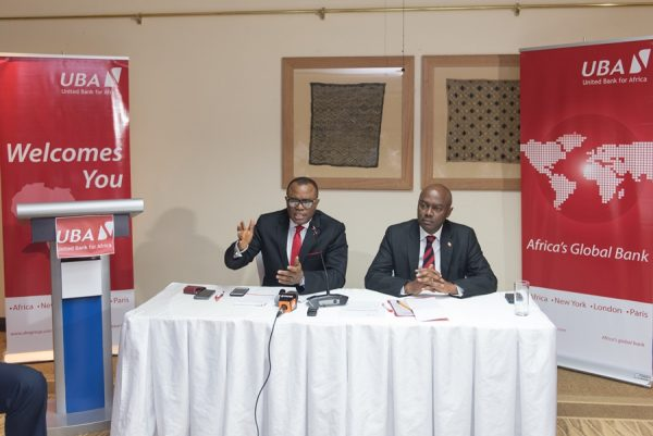 Emeke Iweriebor, Regional CEO, East and Southern Africa, UBA Plc and MD-CEO, UBA Kenya Limited, Isaac Mwige at the Press Conference organised by the Bank in Nairobi on Thursday