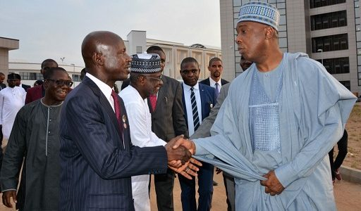 PICTURES: Saraki visits new EFCC headquarters, says fight against corruption must continue