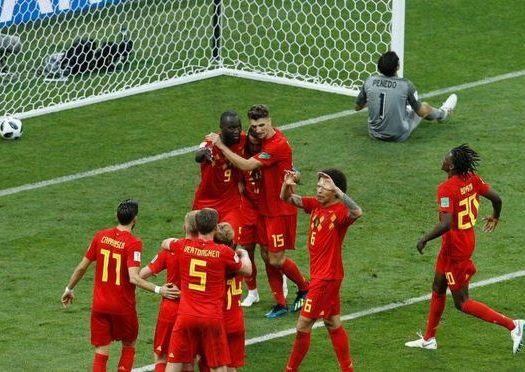 Belgium players jubilate