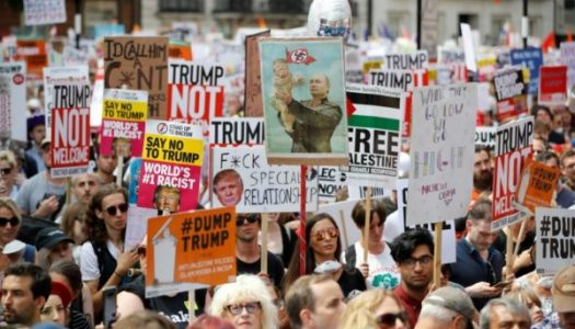 Thousands of anti-Trump protesters storm London