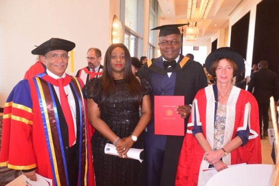 Distinguish Alumni Award Recipient, Mr Valentine Ozigbo(2nd right); Wife of Awardee, Mary Ojiugo ; Chairman of CMA Holding, Rakesh Wahi ; and Prof Sharon Huttly