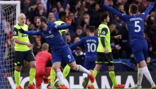 Premier League: Higuain shines as Chelsea thrash Huddersfield, Spurs go second with win over Newcastle, other results