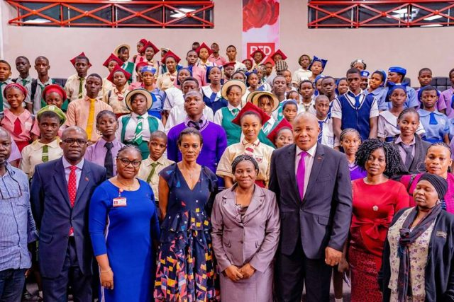 Group Head, Brand Management, United Bank for Africa(UBA) Plc, Mr. Lashe Osoba; English Teacher, Holy Child College, Ikoyi, Mrs Ezechukwu Ngozi; Managing Director /CEO, UBA Foundation, Mrs Bola Atta; Group Head, Direct Sales Agency, UBA Plc Ogechi Altraide; Group Head, External and Media Relations, UBA Plc, Mr. Ramon Nasir, flanked by students and teachers of some selected secondary schools in Lagos during the commencement Ceremony for the 2019 UBA Foundation National Essay Competition for senior secondary school students in Nigeria held at UBA House on Tuesday